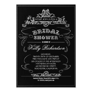vintage typography black bridal shower invitations
