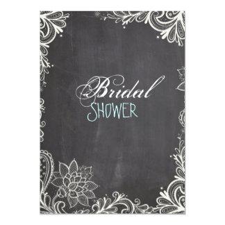 vintage typography  Chalkboard bridal shower 5x7 Paper Invitation Card