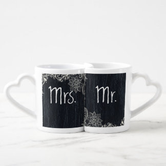 vintage typography  Chalkboard mr and mrs Couples' Coffee Mug Set