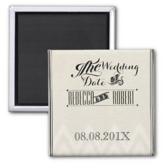 vintage Typography Chalkboard save the date 2 Inch Square Magnet