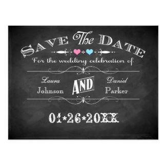 Vintage Typography Chalkboard Save The Date Card Post Cards