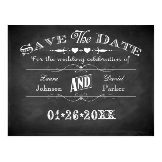 Vintage Typography Chalkboard Save The Date Card Postcards