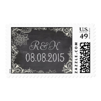 vintage typography  Chalkboard save the date Postage