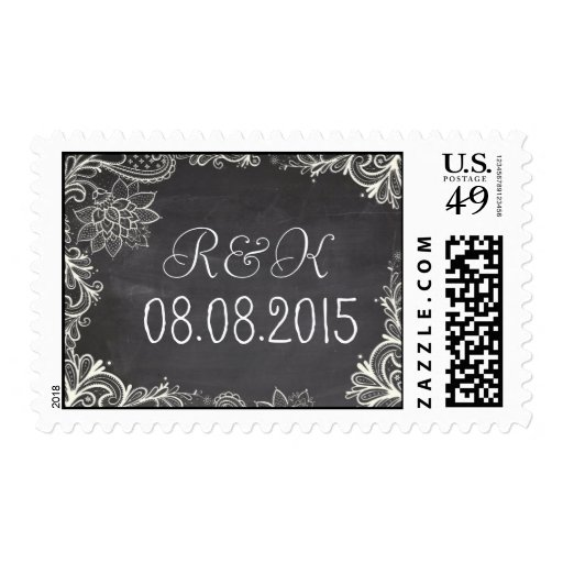 vintage typography  Chalkboard save the date Stamps