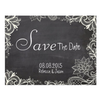 vintage typography  Chalkboard save the date Postcard