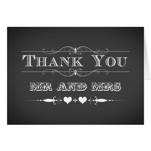 Vintage Typography Chalkboard Thank You Card Zazzle