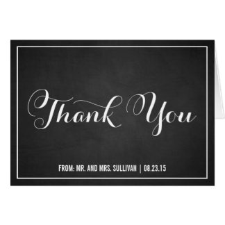 Vintage Typography Chalkboard Thank You Card