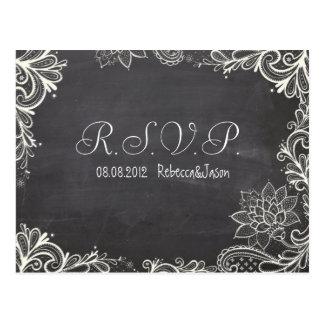 vintage typography Chalkboard Wedding RSVP Postcard
