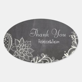 vintage typography Chalkboard Wedding thank you Oval Sticker