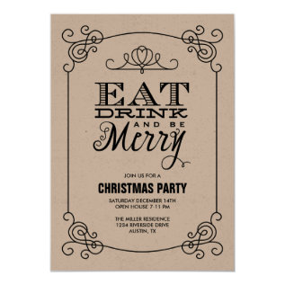 Vintage Typography Christmas Party Card at Zazzle