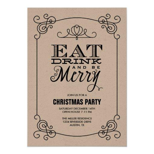 Retro Christmas Party Invitations: Vintage Typography Christmas Party 5x7 Paper Invitation