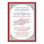 Vintage Typography Cranberry Red Grey Gray Wedding Personalized Invite