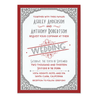Vintage Typography Cranberry Red Grey Gray Wedding 5x7 Paper Invitation Card