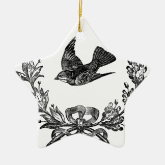 vintage typography design dove & wreath bird ceramic ornament