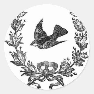 vintage typography design dove & wreath bird classic round sticker