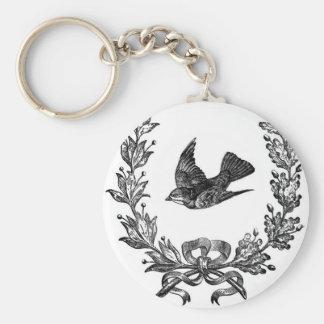 vintage typography design dove & wreath bird keychains