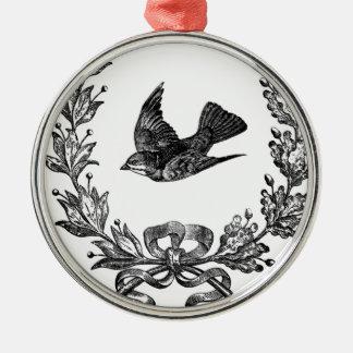 vintage typography design dove & wreath bird metal ornament