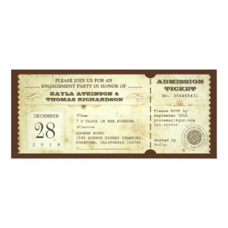 """vintage typography engagement party tickets 4"""" x 9.25"""" invitation card"""