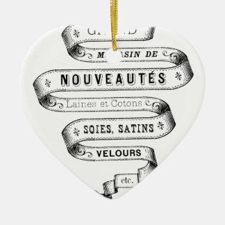 vintage typography fabric design ceramic ornament