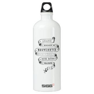 vintage typography fabric design water bottle