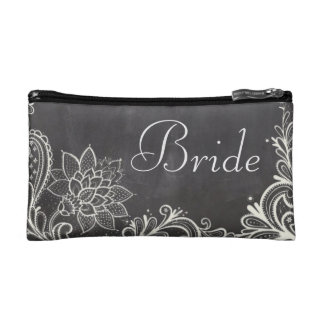 vintage typography flourish Chalkboard bride Makeup Bag