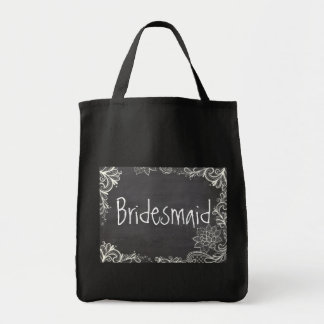 vintage typography flourish Chalkboard bridesmaid Tote Bags
