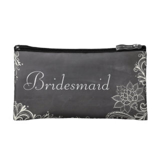 vintage typography flourish Chalkboard bridesmaid Makeup Bag