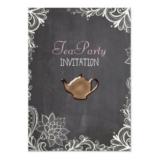 vintage typography flourish Chalkboard tea party 5x7 Paper Invitation Card