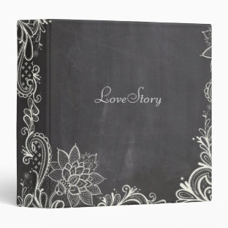 vintage typography flourish Chalkboard Wedding 3 Ring Binder