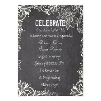 vintage typography flourish Chalkboard Wedding 5x7 Paper Invitation Card