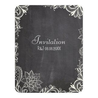 vintage typography flourish Chalkboard Wedding 4.25x5.5 Paper Invitation Card