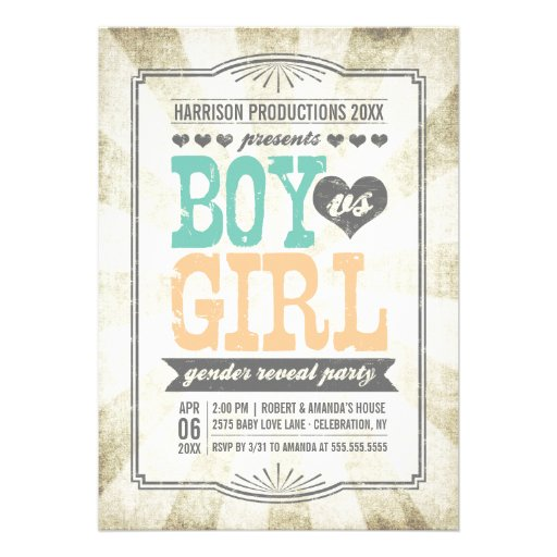 Vintage Typography Gender Reveal Party Invitation