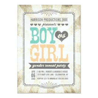 Vintage Typography Gender Reveal Party Invitation
