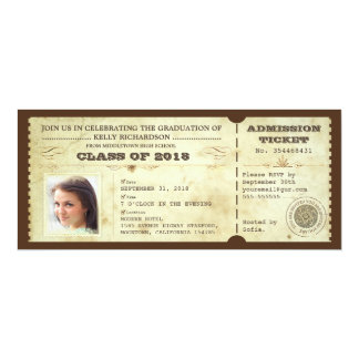 vintage typography graduation tickets with photo custom announcements