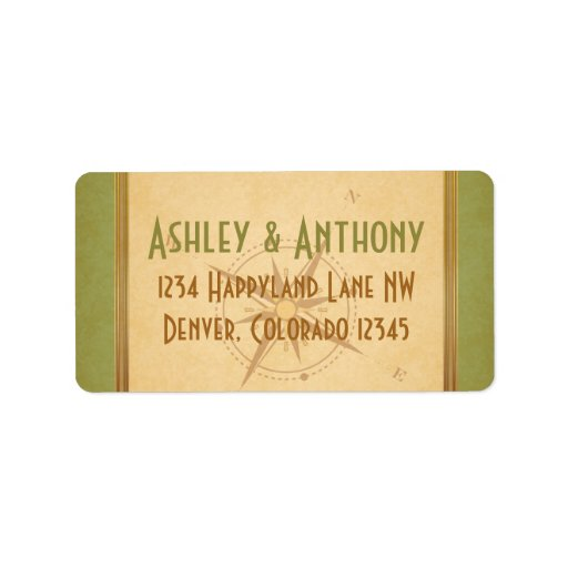 Vintage Typography Green Compass Wedding Address Address Label