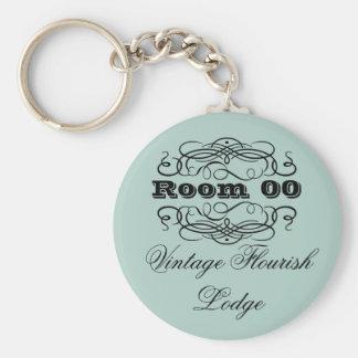 Vintage typography hotel room blue keychain