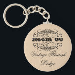 "Vintage typography hotel room brown keychain<br><div class=""desc"">This round, &quot;vintage typography&quot; keyring has a pale pastel tan background with floral flourish swirls and fonts in script, bold, formal and casual styles. CUSTOMIZE IT - Change the wording and the color of the background to suit your requirements, add your monogram, or delete templates by using the &quot;customize it&quot;...</div>"