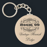 """Vintage typography hotel room brown keychain<br><div class=""""desc"""">This round, &quot;vintage typography&quot; keyring has a pale pastel tan background with floral flourish swirls and fonts in script, bold, formal and casual styles. CUSTOMIZE IT - Change the wording and the color of the background to suit your requirements, add your monogram, or delete templates by using the &quot;customize it&quot;...</div>"""