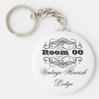 Vintage typography hotel room keychain