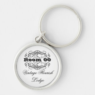 Vintage typography hotel room key chain