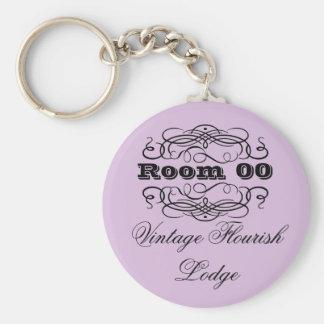 Vintage typography hotel room purple key chain