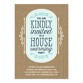 Vintage Typography | Housewarming Pary 5x7 Paper Invitation Card