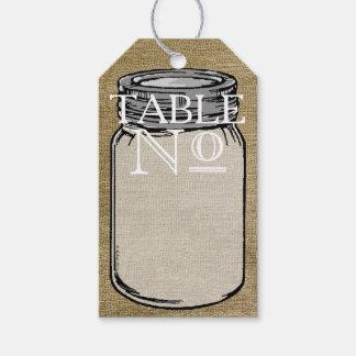 Vintage Typography Mason Jar Burlap Table Number Gift Tags