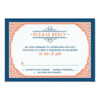 Vintage Typography Navy Blue Coral Wedding RSVP Card
