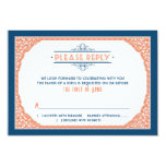 Vintage Typography Navy Blue Coral Wedding RSVP Personalized Invitation