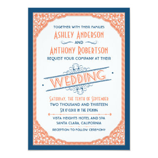 Vintage Typography Navy Blue Coral White Wedding Card