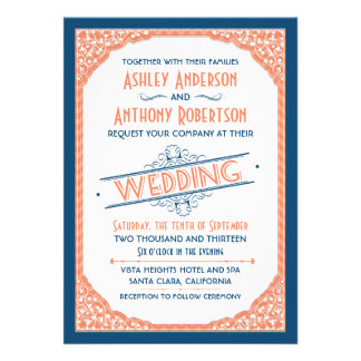 Vintage Typography Navy Blue Coral White Wedding Invitation