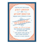 Vintage Typography Navy Blue Coral White Wedding Invitation