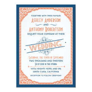 Vintage Typography Navy Blue Coral White Wedding 5x7 Paper Invitation Card