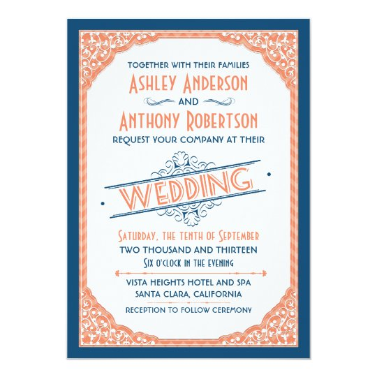 Coral And White Wedding Invitations: Vintage Typography Navy Blue Coral White Wedding